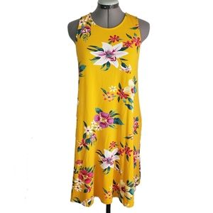Old Navy floral mustard swing dress